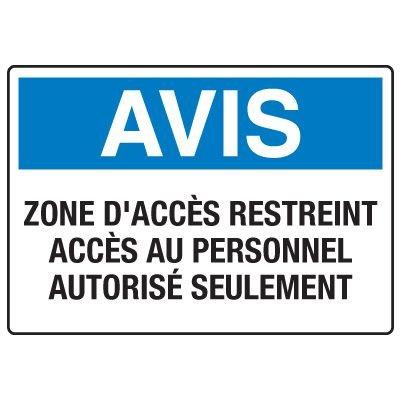 Enseignes de Sécurité - Avis Zone D'accès Restreint Accès Au Personnel Autorisé Seulement