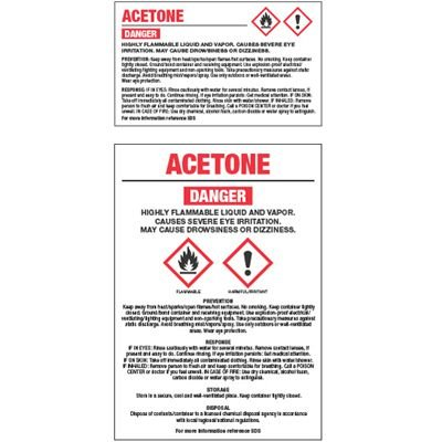 GHS Chemical Labels - Acetone