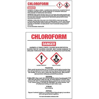 GHS Chemical Labels - Chloroform