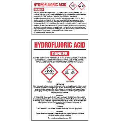 GHS Chemical Labels - Hydrofluoric Acid