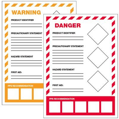 GHS Secondary Container Labels - PPE Recommendation