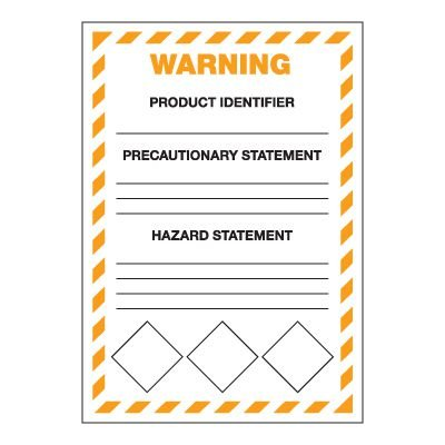 GHS Secondary Container Labels  - Warning