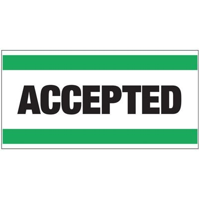 Giant Quality Control Wall Sign - Accepted