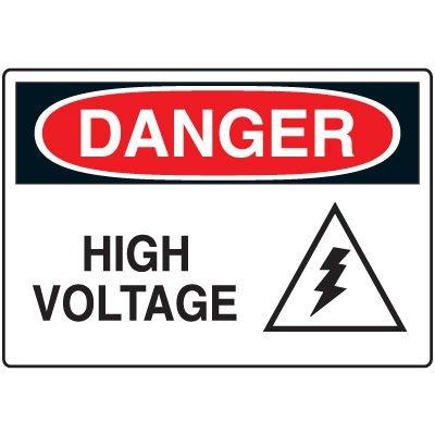 Electrical Hazard Signs - Danger High Voltage