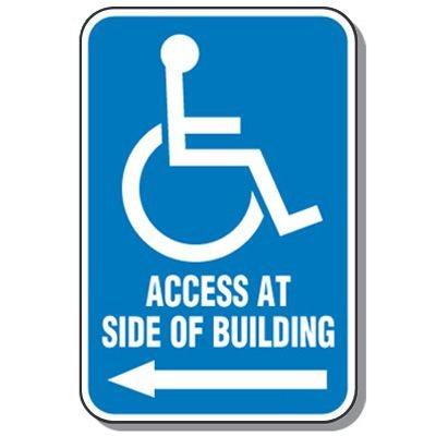 Handicap Signs - Access Side Of Building (Symbol of Access & Left Arrow)