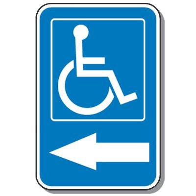 Handicap Signs - Symbol of Access & Left Arrow