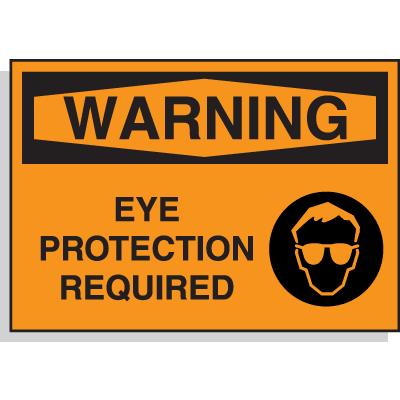 Hazard Warning Labels - Warning Eye Protection Required (with Graphic)