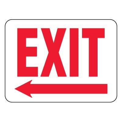 Heavy-Duty Emergency Rescue & Evacuation Signs - Exit with Left Arrow