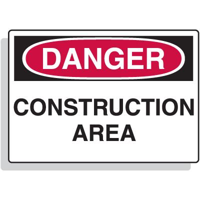 Fiberglass OSHA Sign - Danger - Construction Area