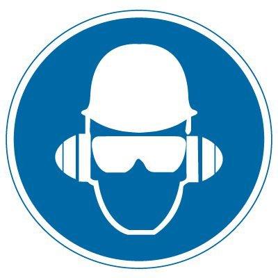 International Symbols Labels - Wear Head, Hearing & Eye Protection (Graphic)