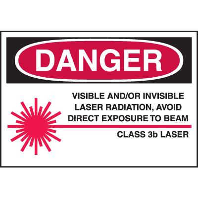 Laser Equipment Warning Labels - Danger Class 3B Laser