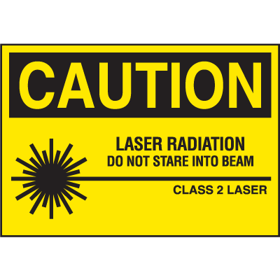 Laser Equipment Warning Labels - Caution Laser Radiation