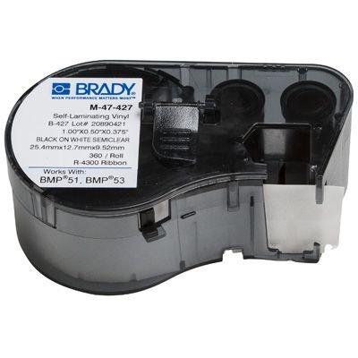 Brady M-47-427 BMP51/BMP41 Label Cartridge - Black on White/Clear