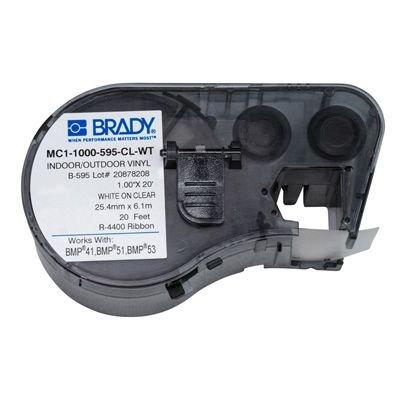 Brady MC1-1000-595-CL-WT BMP51/BMP41 Label Cartridge - White on Clear
