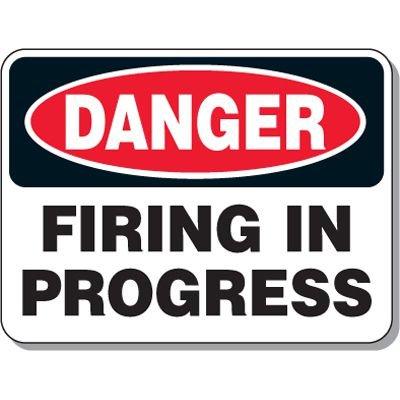 Explosive and Blasting Mining Signs - Danger Firing In Progress