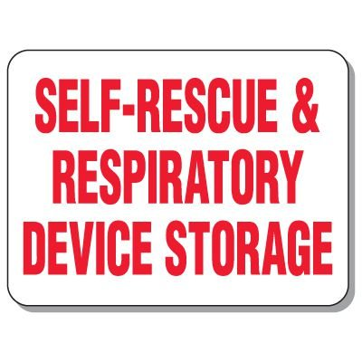 Self-Rescue & Respiratory Device Storage Giant Emergency Signs