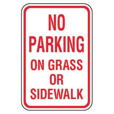 No Parking Signs - No Parking On Grass Or Sidewalk