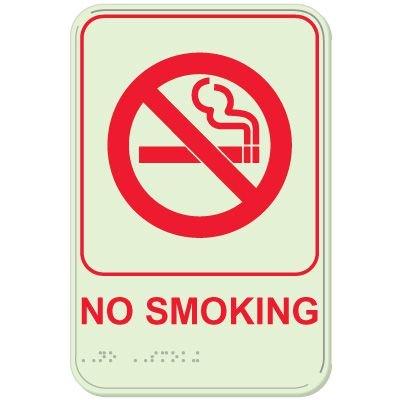 No Smoking - Glo-Brite® ADA Braille Signs