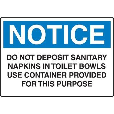 Do Not Deposit Sanitary Napkins in Toilet Bowls Sign