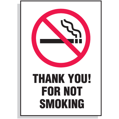 Thank You For Not Smoking Signs