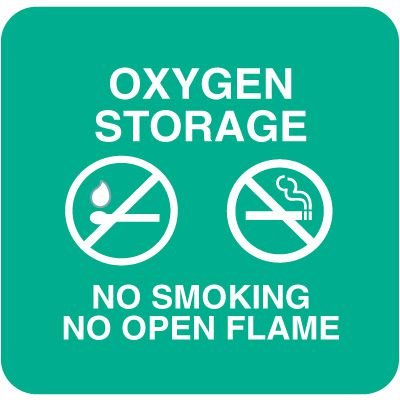 Optima Wall Mount Signs - Oxygen Storage No Smoking