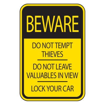 Parking Lot Signs - Beware Lock Your Car