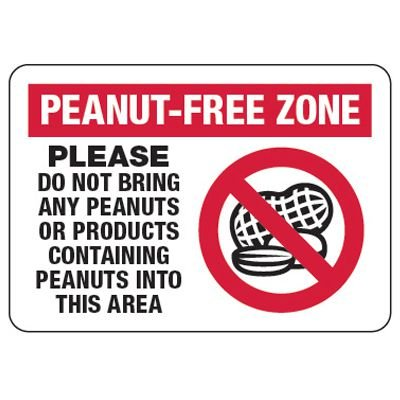 Peanut Free Zone - Food Allergy Signs