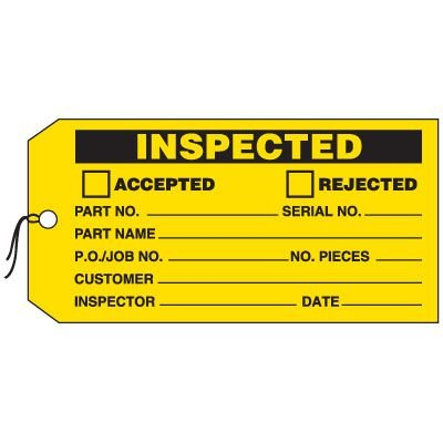 Production Control Tags - Inspected (Accepted/Rejected)