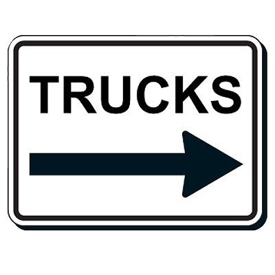 Reflective Parking Lot Signs - Truck (Right Arrow)