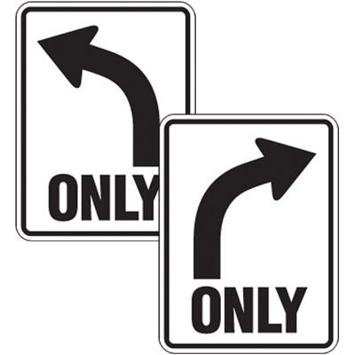 Reflective Left or Right Curve Only Sign