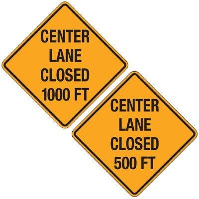Reflective Warning Signs - Center Lane Closed