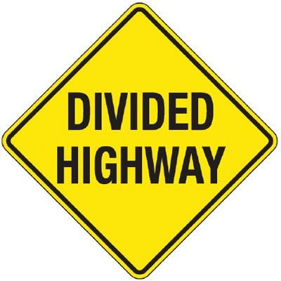 Reflective Warning Signs - Divided Highway