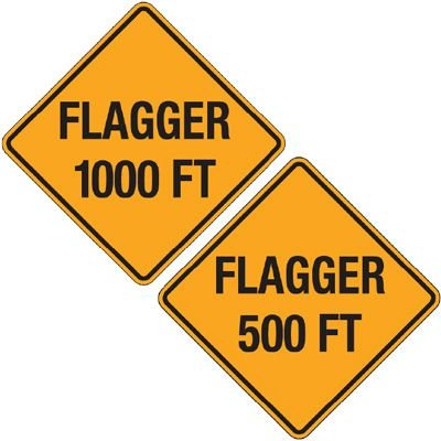 Reflective Warning Signs - Flagger