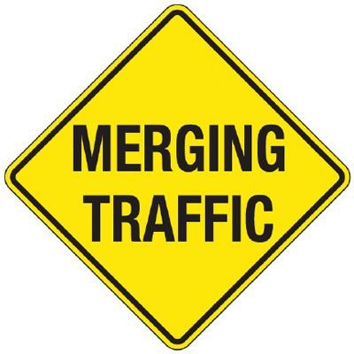 Reflective Warning Signs - Merging Traffic