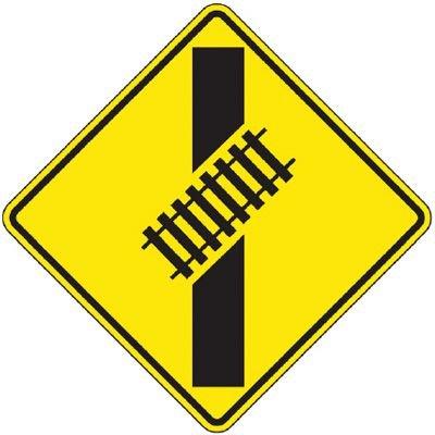 Reflective Warning Signs - Railtracks Crossing Road (Symbol)