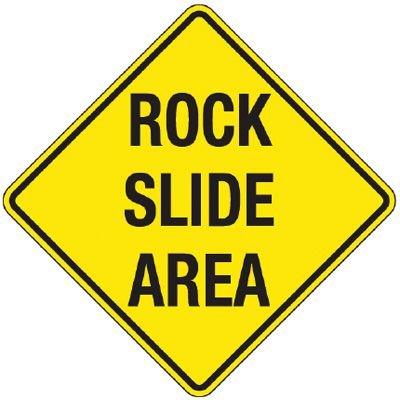 Reflective Warning Signs - Rock Slide Area
