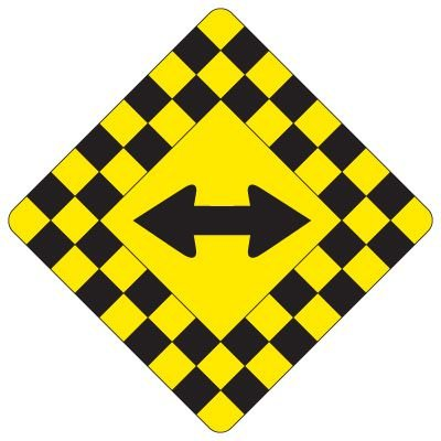 Regulatory Checkerboard Warning Signs – Double Arrow Symbol
