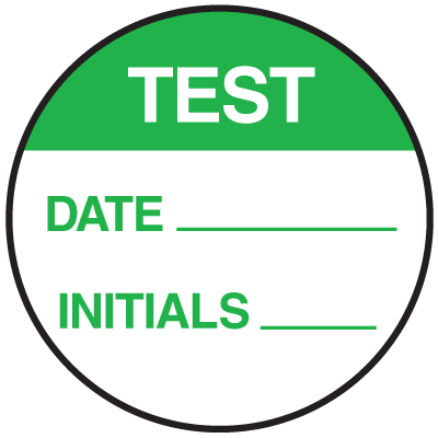 Test Date Initials Round Labels On A Roll