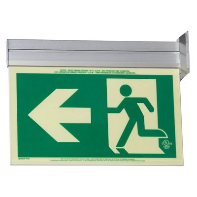 Running Man Graphic with Arrow - Glo Brite® Exit Signs, Single-Sided