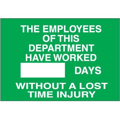 Days Without a Lost Time Injury Sign