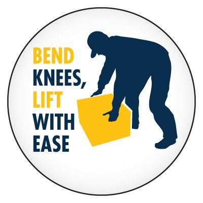 Safety Hard Hat Labels - Bend Knees, Lift With Ease