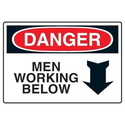 Site Safety Signs - Danger Men Working Below
