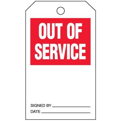Inspection Tags-On-A-Roll - Out Of Service