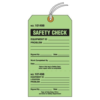 Tear-Off Jumbo Safety Check Tags