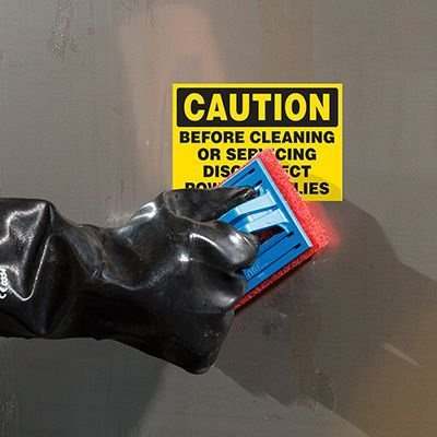 ToughWash® Labels - Caution Before Cleaning Disconnect