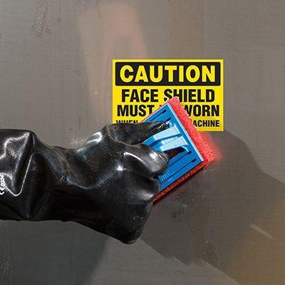 ToughWash® Labels - Caution Face Shield