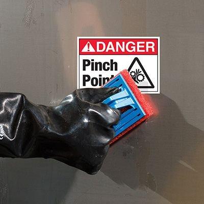 ToughWash® Labels - Danger Pinch Point (With Symbol)