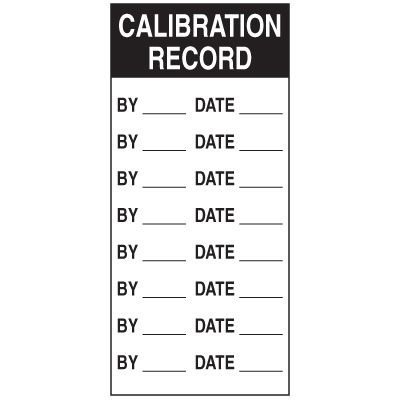 Write-On Action Labels - Calibration Record