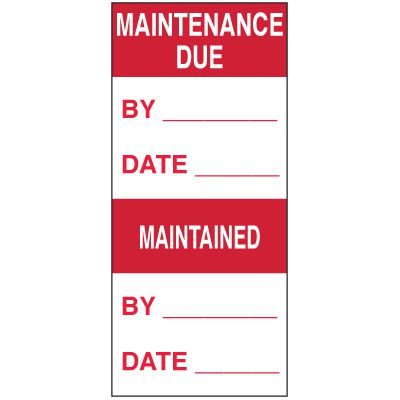 Write-On Action Labels - Maintenance Due