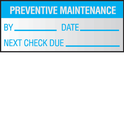 Preventative Maintenance Write On Self Debossing Labels